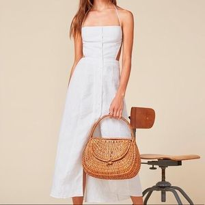 Reformation Manon white midi linen backless dress